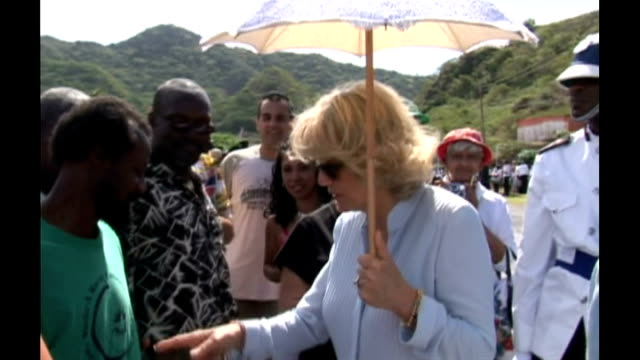 prince charles and camilla meet local people and see volcanic devastation camilla chatting to woman / camilla meeting local people and receiving... - receiving stock videos & royalty-free footage