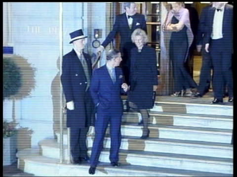 prince charles and camilla parker bowles engagement: history; lib night the ritz: slow motion charles and camilla leaving the ritz date unknown ???... - コーンウォール公爵夫人 カミラ点の映像素材/bロール