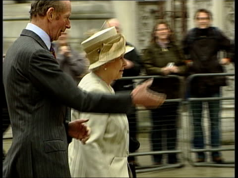 prince charles and camilla parker bowles engagement: wedding date announced; side queen elizabeth walking towards museum with man and shaking hands... - display cabinet stock videos & royalty-free footage