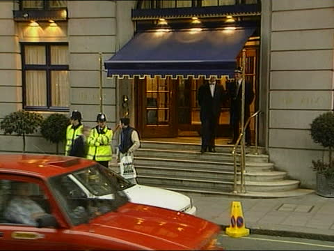 prince charles and camilla parker bowles out together; itn england: london: the ritz hotel: gv ritz across road to stepladders on pavement ladders... - ladder stock videos & royalty-free footage