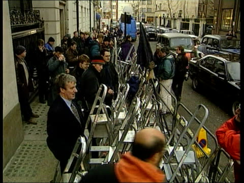 vídeos de stock, filmes e b-roll de prince charles and camilla parker bowles out together itn london the ritz hotel gv ritz pan across road to stepladders on pavement ms ladders ms side... - ritz carlton hotel