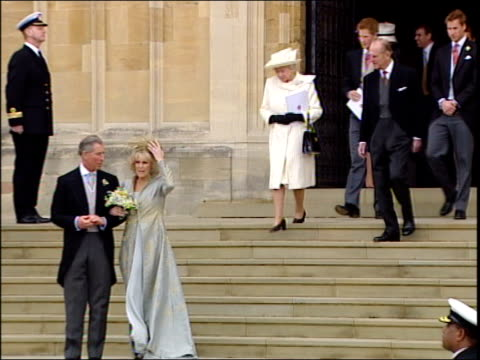 prince charles and camilla parker bowles' wedding: charles & camilla leave st george's chapel; england: berkshire: windsor: windsor castle: st... - コーンウォール公爵夫人 カミラ点の映像素材/bロール