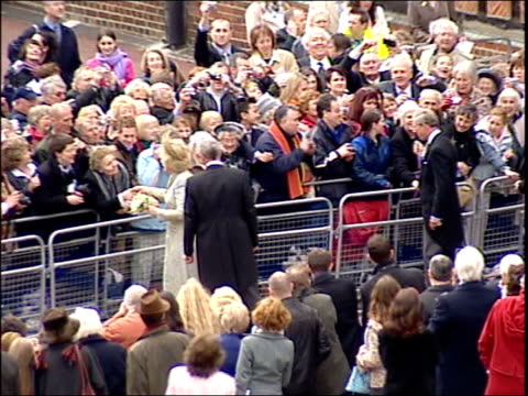 prince charles and camilla parker bowles' wedding charles camilla leave st george's chapel england berkshire windsor windsor castle st george's... - 2005 stock-videos und b-roll-filmmaterial