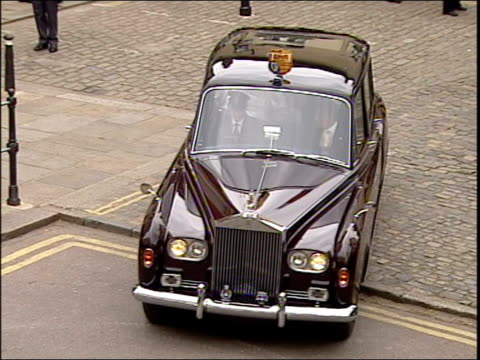 prince charles and camilla parker bowles' wedding wedding party departs guildhall england berkshire windsor guildhall doors being opened as prince... - camilla duchess of cornwall stock videos and b-roll footage