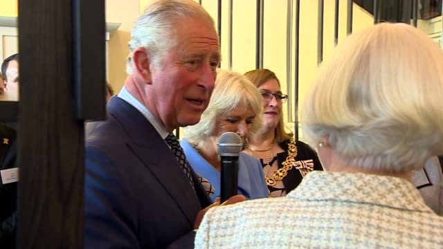 prince charles and camilla visit mackintosh at the willow scotland glasgow mackintosh at the willow gvs chair designed by charles rennie mackintosh... - charles rennie mackintosh stock videos and b-roll footage