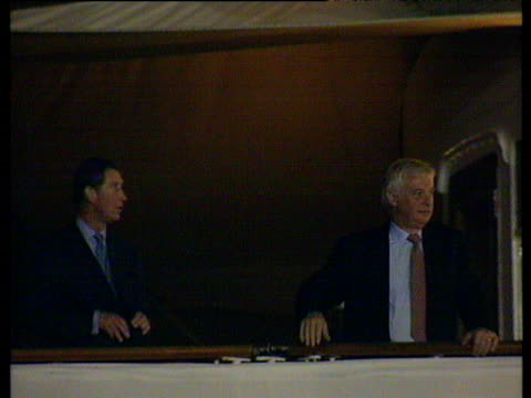 prince charles and chris patten on departing britannia; hong kong handover; 30 jun 97 - 1997 stock videos & royalty-free footage