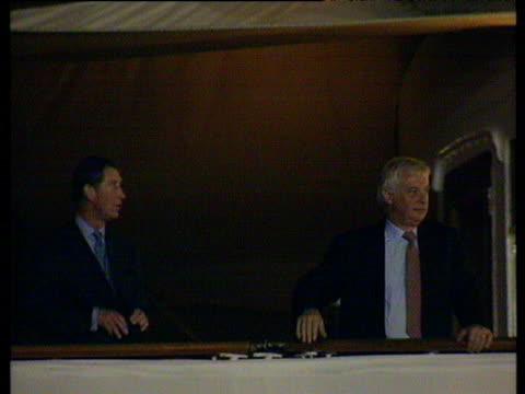 prince charles and chris patten on departing britannia hong kong handover 30 jun 97 - 1997 stock videos & royalty-free footage