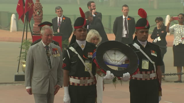 Prince Charles and Cornwall Duchess of Cambridge laying a wreath at The India Gate New Delhi