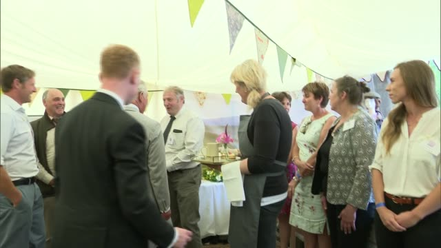 prince charles and duchess of cornwall attend exmoor national park picnic; england: devon: exmoor national park: int / marquee prince charles, prince... - exmoor national park stock videos & royalty-free footage