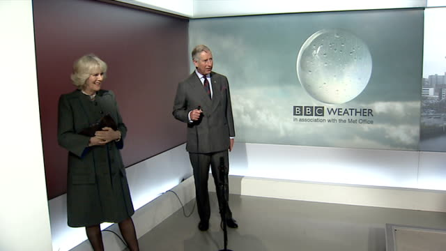 Prince Charles and Duchess of Cornwall visit BBC Scotland Various CUTAWAYS of Prince Charles presenting BBC weather forecast/ Various CUTAWAYS of...