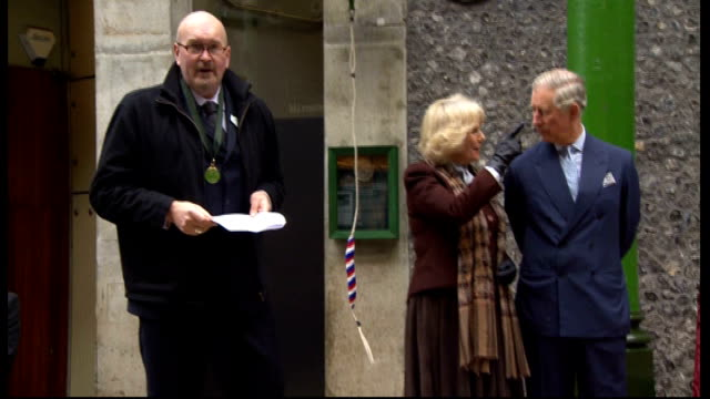 Prince Charles and Duchess of Cornwall visit Borough Market Couple with Dean of Southwark / official making speech SOT / Dean of Southwark Cathedral...