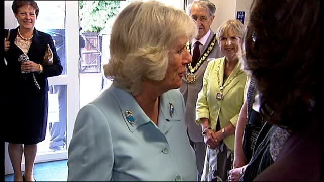 vídeos de stock e filmes b-roll de prince charles and duchess of cornwall visit denbies wine estate; molesey centre for the community: camilla arriving with umbrella at molesey centre... - pie humano