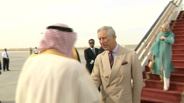 prince charles and duchess of cornwall visit / human rights row; saudi arabia: riyadh: riyadh airport: ext prince charles, prince of wales, and... - prince royal person stock videos & royalty-free footage