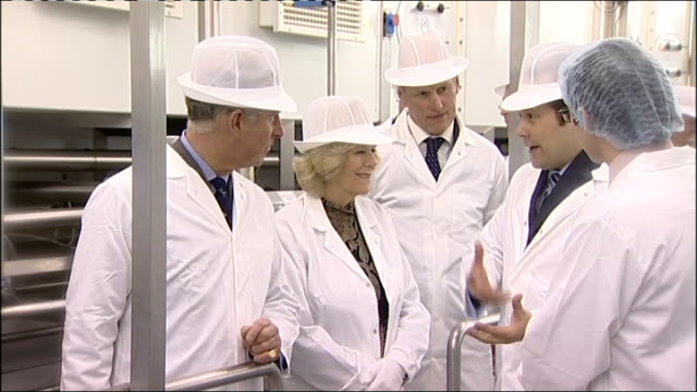 prince charles and duchess of cornwall visit long clawson dairy; int various shot sof prince charles and camilla touring dairy and watching various... - dairy product stock videos & royalty-free footage