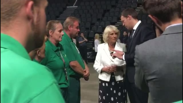Prince Charles and Duchess of Cornwall visit Manchester Arena ENGLAND Manchester Manchester Arena INT People gathered in auditorium where Ariana...