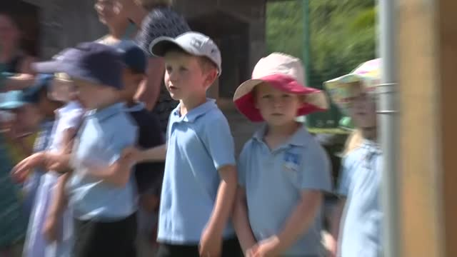 prince charles and duchess of cornwall visit school on isles of scilly; england: isles of scilly: st mary's: five islands academy school: ext young... - bunch stock videos & royalty-free footage