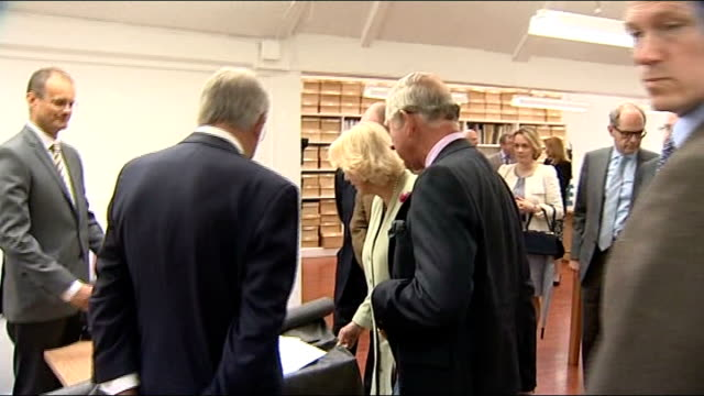 prince charles and duchess of cornwall visit textile mill arrival and visit prince charles and camilla shown tartan jacket on stand and meeting more... - tartan video stock e b–roll
