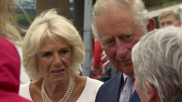 prince charles and duchess of cornwall visit the yacht 'maiden'; england: london: st katharine docks: prince charles, camilla and princess haya bint... - princess stock videos & royalty-free footage