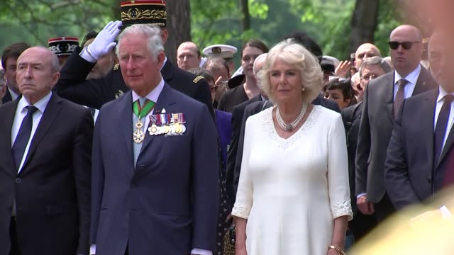 prince charles and duchess of cornwall visit to france couple attend ve day memorial service in lyon france lyon ext prince charles prince of wales... - v neck stock videos & royalty-free footage