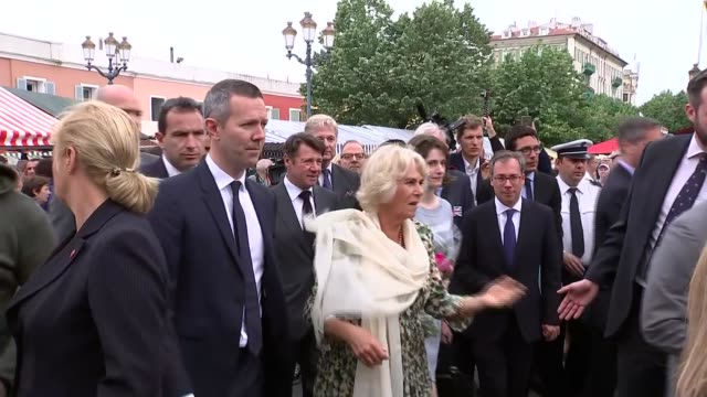 prince charles and duchess of cornwall visit to france they comment on harry's wedding france nice ext prince charles and camilla along / prince... - meghan harry stock videos and b-roll footage