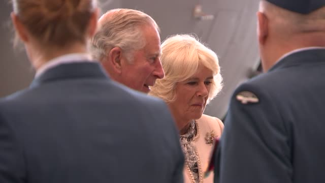 prince charles and duchess of cornwall visit visit to ontario canada ontario trenton canadian air force base gvs of buildings in ontario / prince... - camilla duchess of cornwall stock videos and b-roll footage