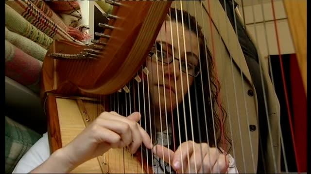 prince charles and duchess of cornwall visit welsh quilt centre int woman in quilt centre playing harp sot - harp stock videos & royalty-free footage