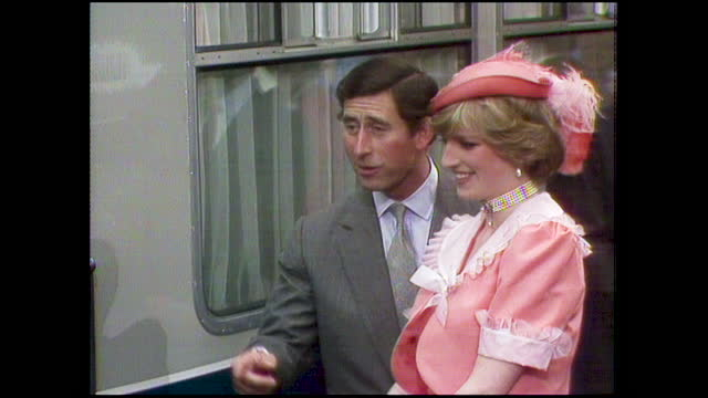 prince charles and princess diana board the train at waterloo station which will take them to broadlands to begin their honeymoon on the day of their... - train vehicle stock videos & royalty-free footage