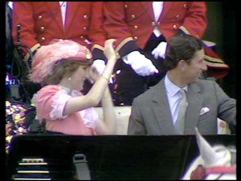 vídeos de stock, filmes e b-roll de prince charles and princess diana leave for honeymoon in open topped carriage with - lua de mel