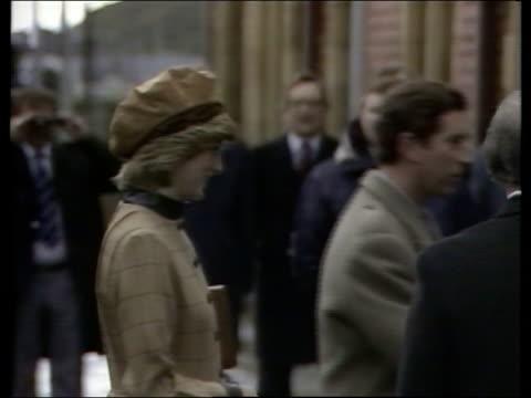 Prince Charles and Princess Diana visiting Wales NAO Gwynedd Aberdovey MS Prince amp Princess of Wales off train and greeted BV As couple walk...