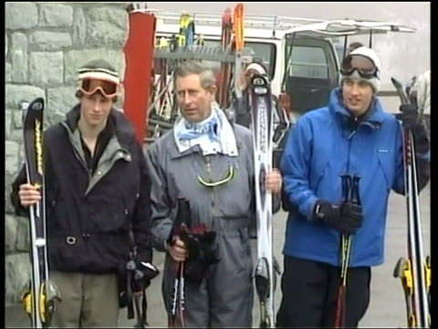 klosters skiing holiday en nicholas owen switzerland klosters ext prince charles along with sons prince william and prince harry all carrying skis... - ski holiday stock videos & royalty-free footage