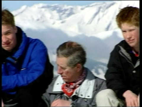 Skiing holiday dLTN NICHOLAS OWEN ITN SWITZERLAND Klosters Prince Charles and Prince William along on drag lift TRACK BACK Prince Charles and Prince...