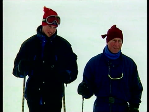 prince charles and sons: skiing holiday; itn canada: rocky mountains: prince charles with sons prince william and prince harry seated either side of... - ski holiday stock videos & royalty-free footage