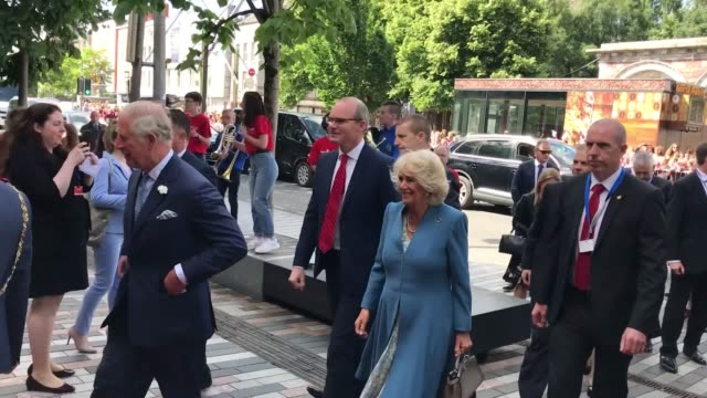 prince charles and the duchess of cornwall arrive at the english market in cork accompanied by ireland's deputy leader simon coveney - county cork stock videos & royalty-free footage