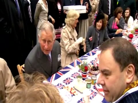prince charles and the duchess of cornwall at a street party in london for the diamond jubilee - street party stock videos & royalty-free footage