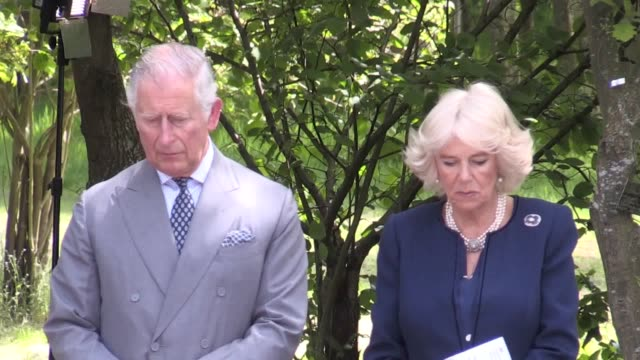 prince charles and the duchess of cornwall attend the unveiling of the national memorial to british victims of overseas terrorism at the national... - コーンウォール公爵夫人 カミラ点の映像素材/bロール