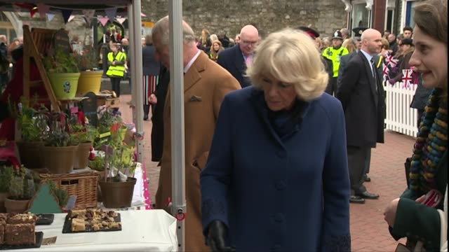 prince charles and the duchess of cornwall visit ely market england cambridgeshire ely ext prince charles prince of wales and camilla duchess of... - eating stock videos & royalty-free footage