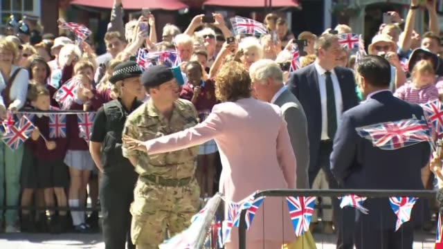 prince charles and the duchess of cornwall visit salisbury market square; uk, salisbury: prince charles, prince of wales, and camilla, duchess of... - prince stock videos & royalty-free footage