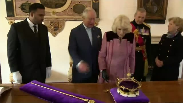 prince charles and the duchess of cornwall visit the tower of london; england: london: tower of london: ext prince charles, prince of wales and... - executioner stock videos & royalty-free footage