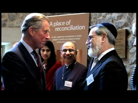 prince charles arrives greets religious leaders at st ethelburga's centre for reconciliation and peace includes richard chartres the bishop of london... - bishop of london stock videos & royalty-free footage