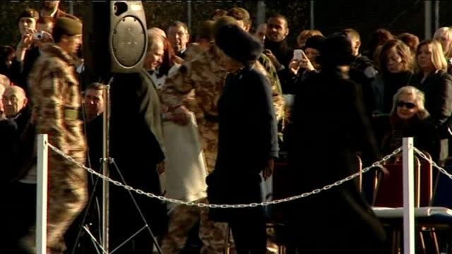 prince charles at aldershot barracks england hampshire aldershot barracks ext soldiers of 1st battalion welsh guards lined up awaiting prince... - battalion stock videos & royalty-free footage