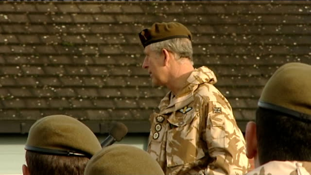 prince charles at aldershot barracks excerpt from prince charles speech sot the last similar occasion i remember when the battalion was in this sort... - regiment stock videos & royalty-free footage