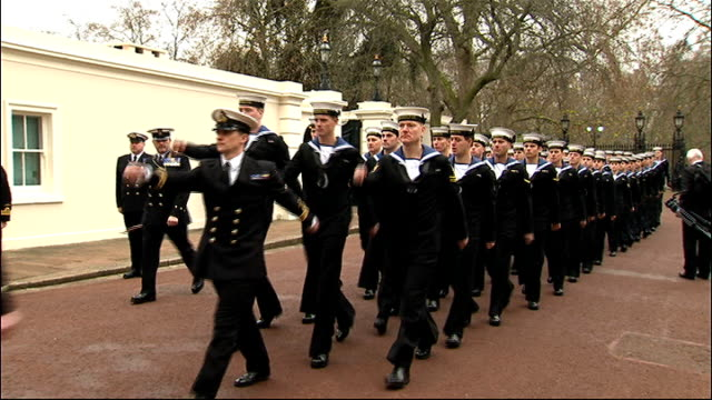 Prince Charles at medal ceremony ENGLAND London Clarence House EXT Military band marching and playing SOT as along into Clarence House followed by...