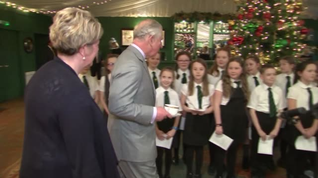 prince charles attends christmas tea dance in dumfries house scotland ayrshire dumfries house int prince charles prince of wales enters hall and... - chorsänger stock-videos und b-roll-filmmaterial