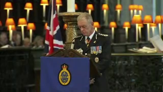 prince charles attends police memorial service at st paul's hymns during service / sir bernard hoganhowe speaking at lectern / right reverend colin... - memorial event stock videos and b-roll footage