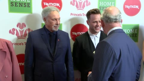 prince charles attends prince's trust awards; prince charles along meeting ant and dec and chatting / greeting cheryl tweedy / charles meeting olly... - プリンスズトラスト点の映像素材/bロール