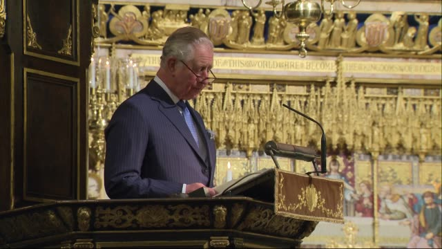 stockvideo's en b-roll-footage met prince charles attends service at westminster abbey to mark the work of christians in the middle east; england: london: westminster: westminster... - westminster abbey