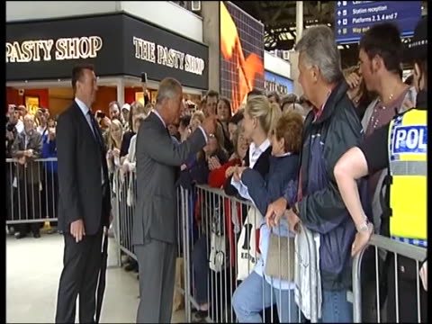 prince charles begins tour of britain to promote his 'sustainable living' inititaitve greeting wellwishers at train station - tour of britain stock videos & royalty-free footage