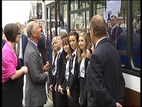 prince charles begins tour of britain to promote his 'sustainable living' inititaitve greeting wellwishers outside train station - tour of britain stock videos & royalty-free footage