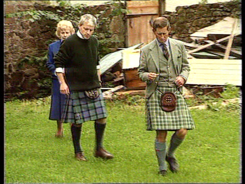 prince charles biography revelations location unknown ms prince charles with others towards in garden and stands besides man in kilt - biography stock videos & royalty-free footage