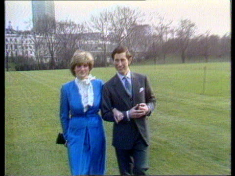 prince charles biography revelations; prince charles biography revelations; itn tx 24.2.81 london: buckingham palace prince charles and princess... - engagement stock videos & royalty-free footage